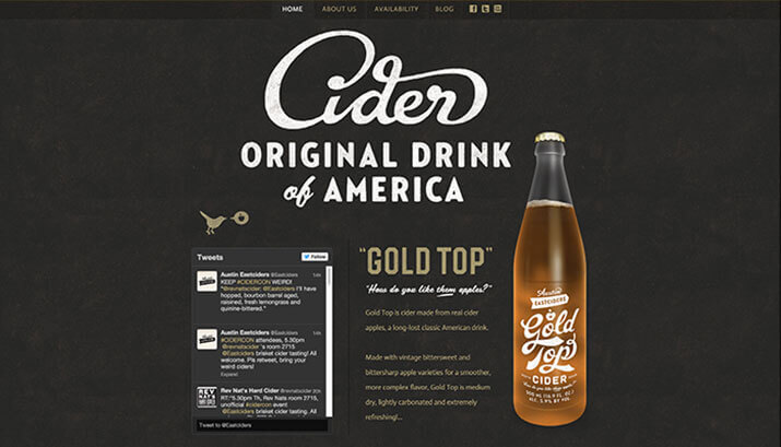 Austin Eastciders Homepage Design Example