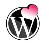 WordPress logo with pink heart
