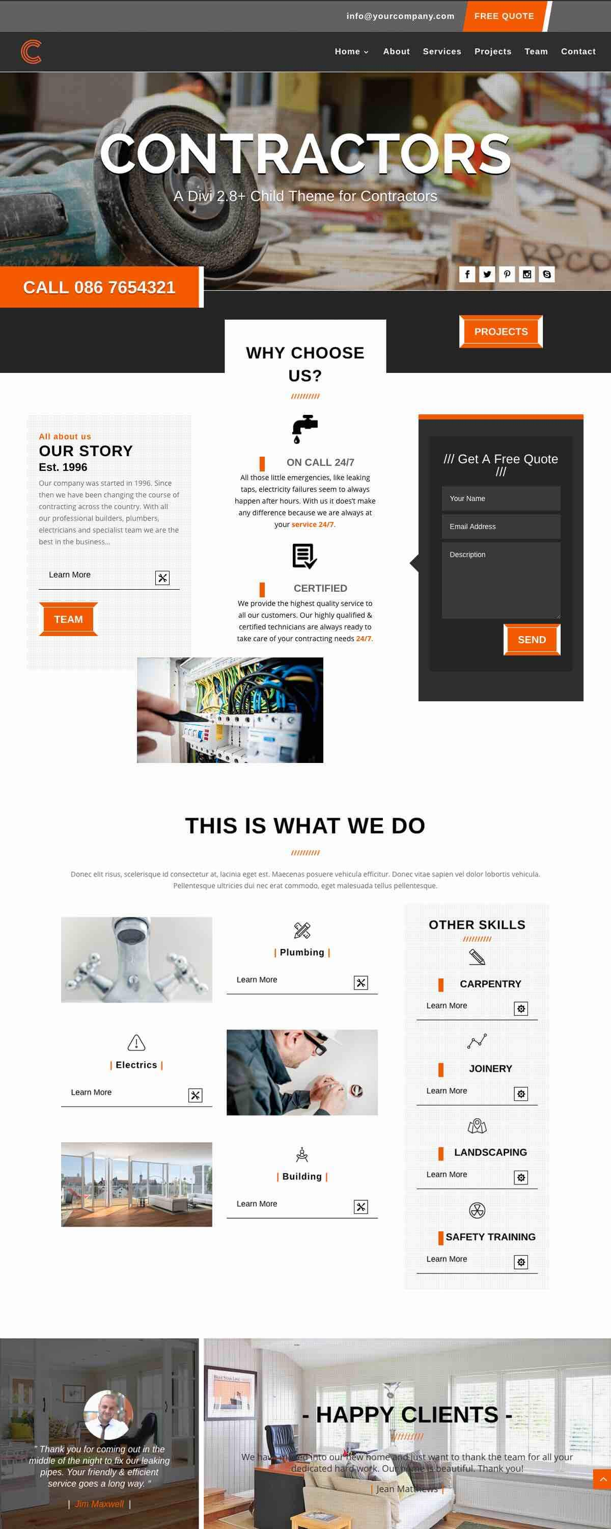 CONTRACTORS - DIVI CHILD THEME