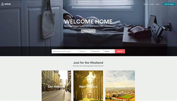 Airbnb Homepage Design Example