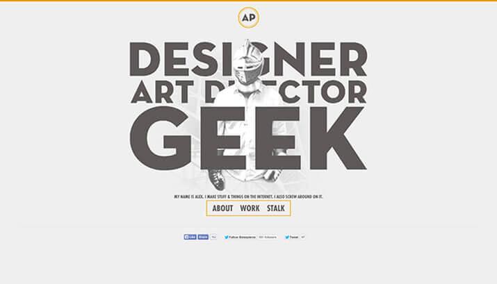 Alex Pierce Homepage Design Example