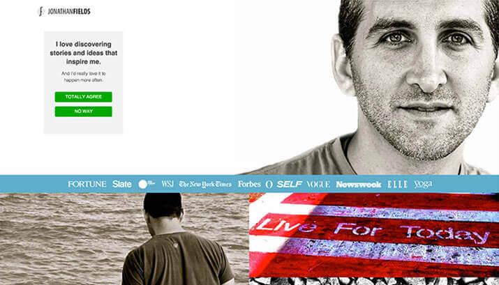 Jonathan Fields Homepage Design Example