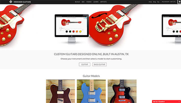 Moniker Guitars Homepage Design Example