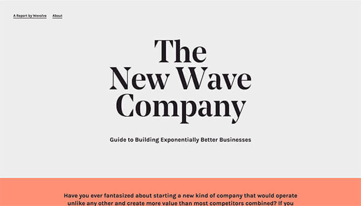 The New Wave Company Homepage Design Example