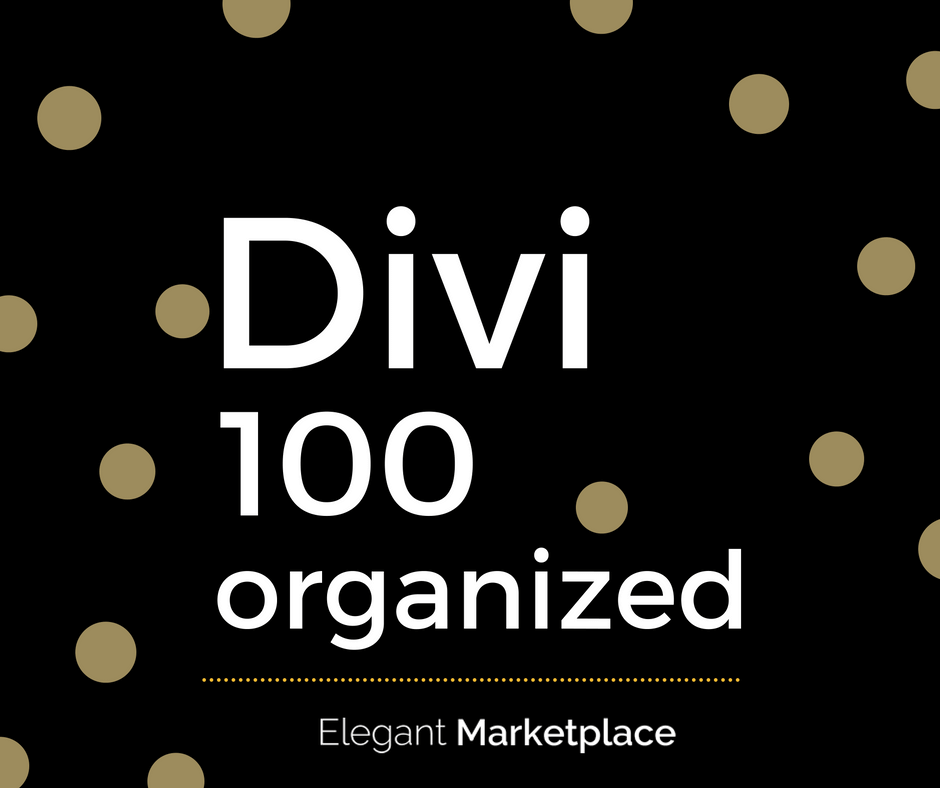 Divi 100 organized | elegant marketplace