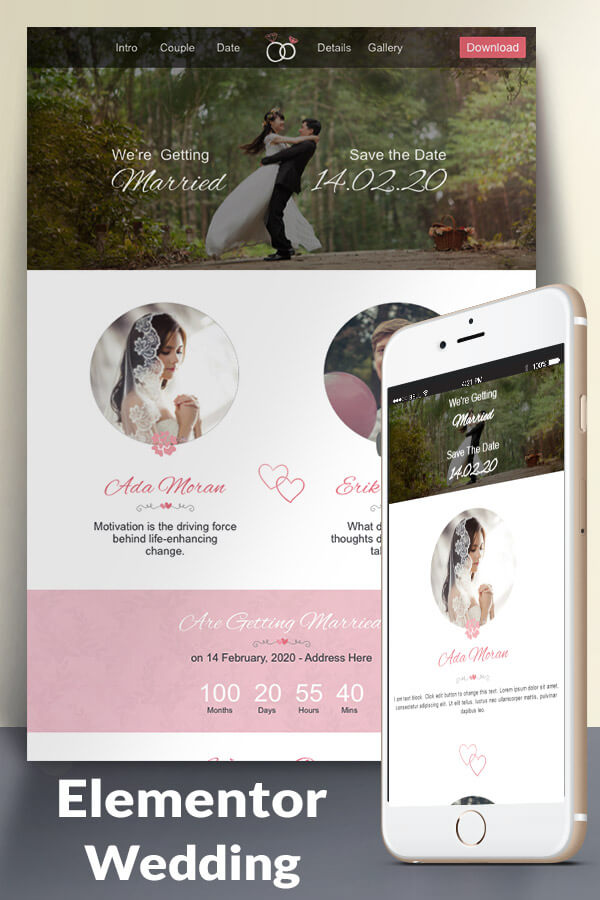 Wedding Website Template For Elementor