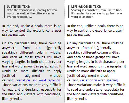 Fully Justified Text Can Be Hard to Read on Mobile Devices