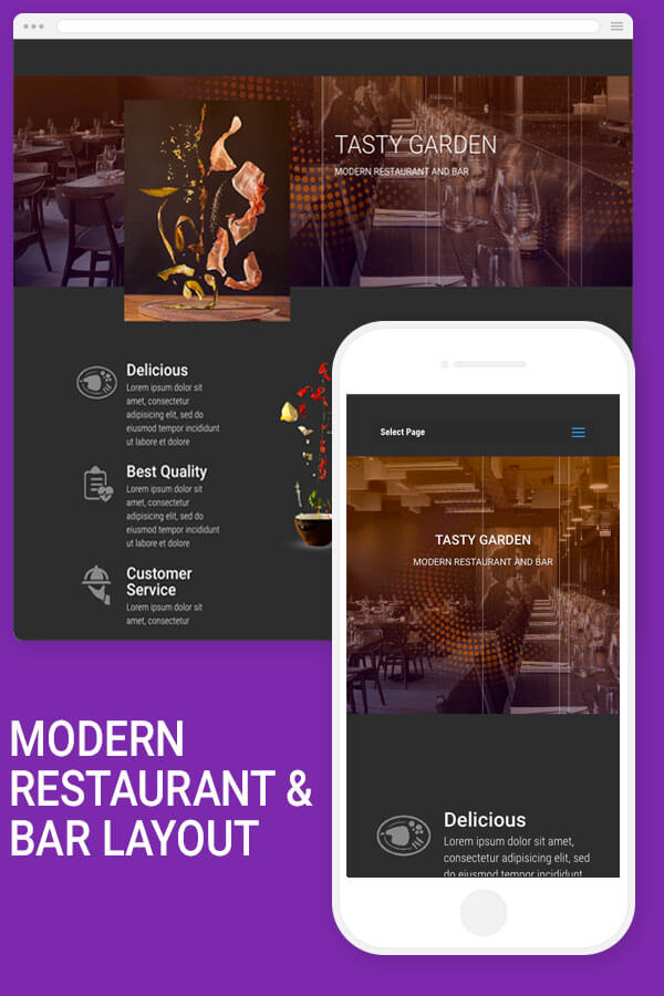 Modern restaurant and bar divi layout