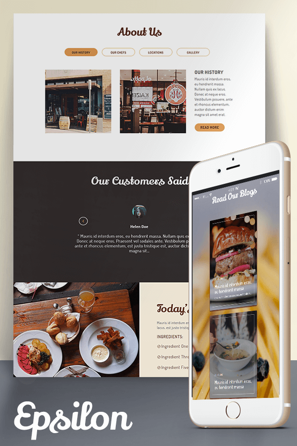 Epsilon restaurant page layout for divi