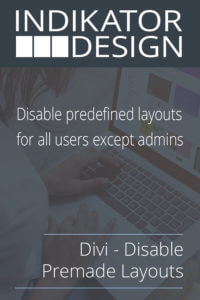 Divi - Disable Premade Layouts Product Image