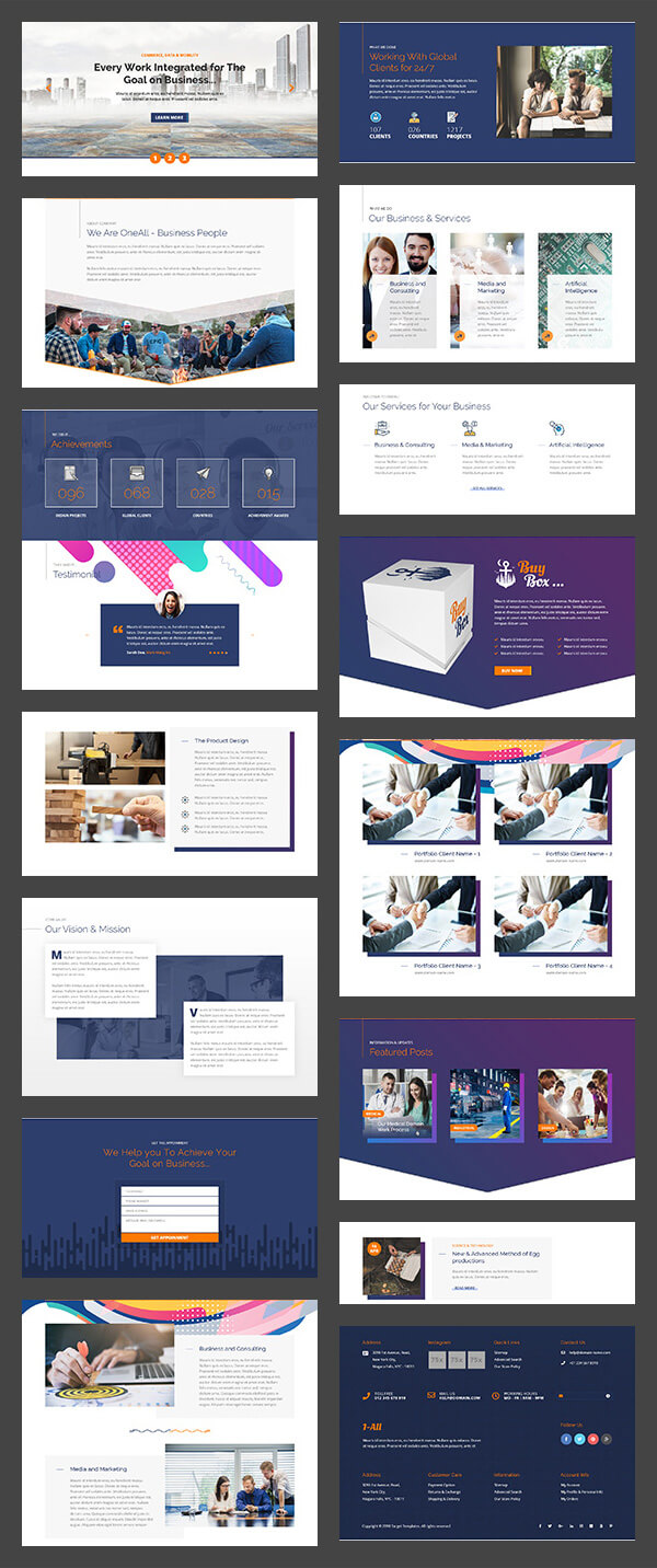divi layouts, sections, child themes - 1-corp