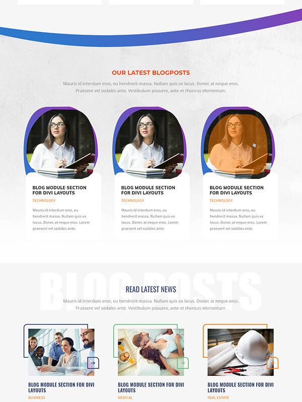 divi theme blog module section layout
