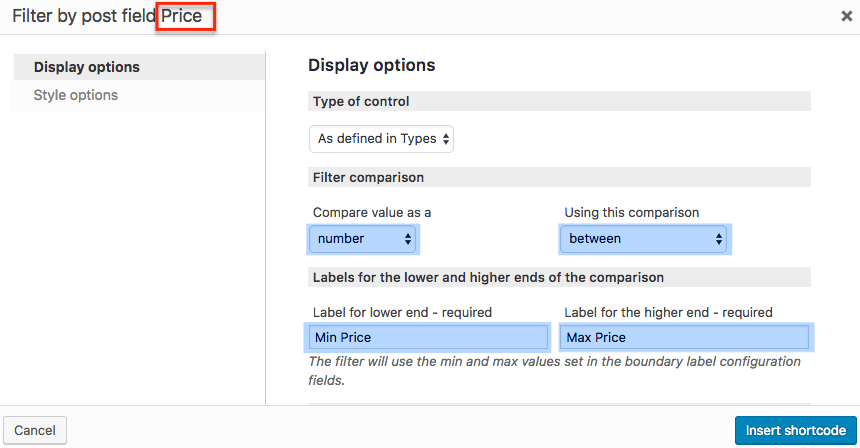 How to set up price range as a filter.