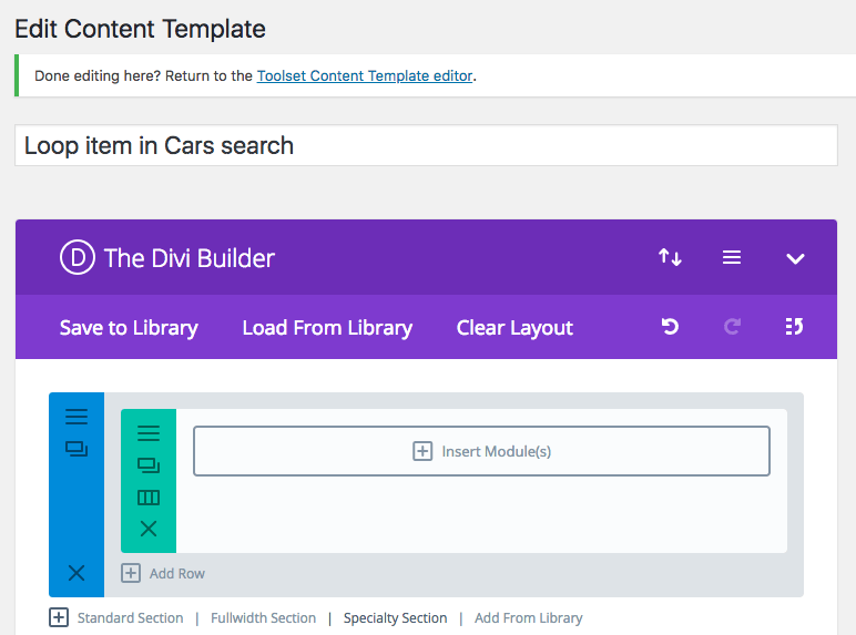 Designing the single car post through the Divi interface.