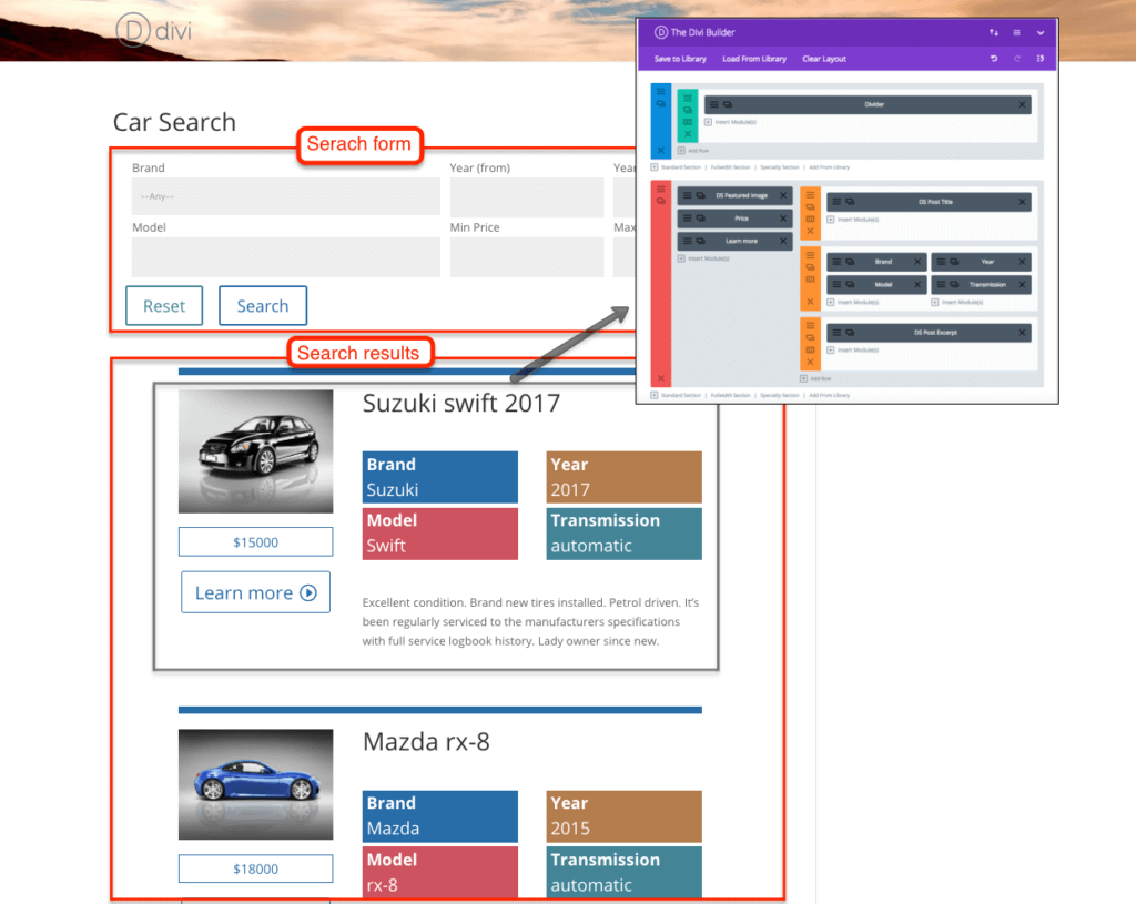 Car search created using Toolset, Divi, and Toolset for Divi plugins.