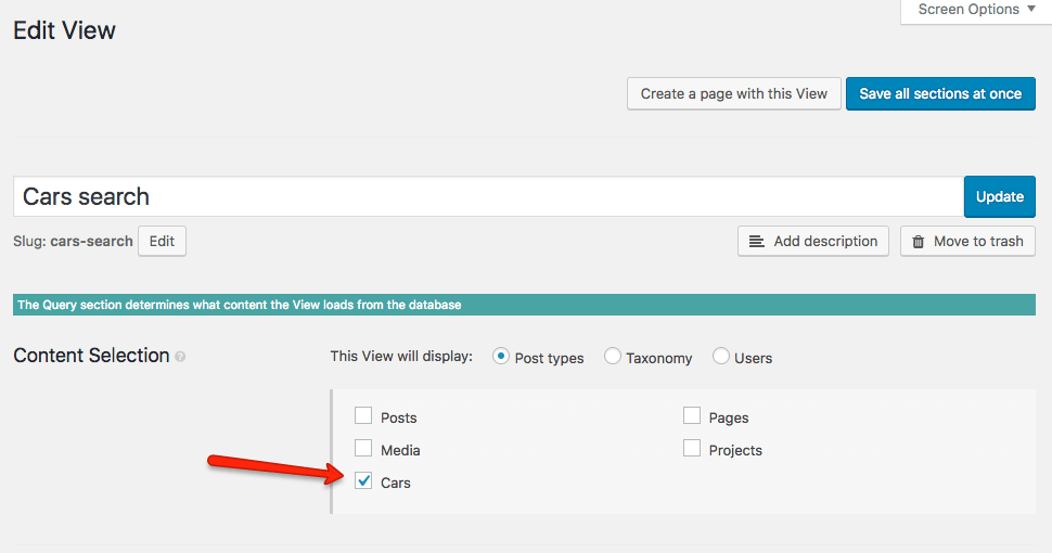 Selecting a custom post type for the search View in Toolset.