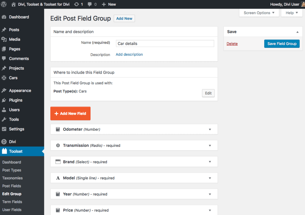 Step 2. Add custom fields to your Cars post type