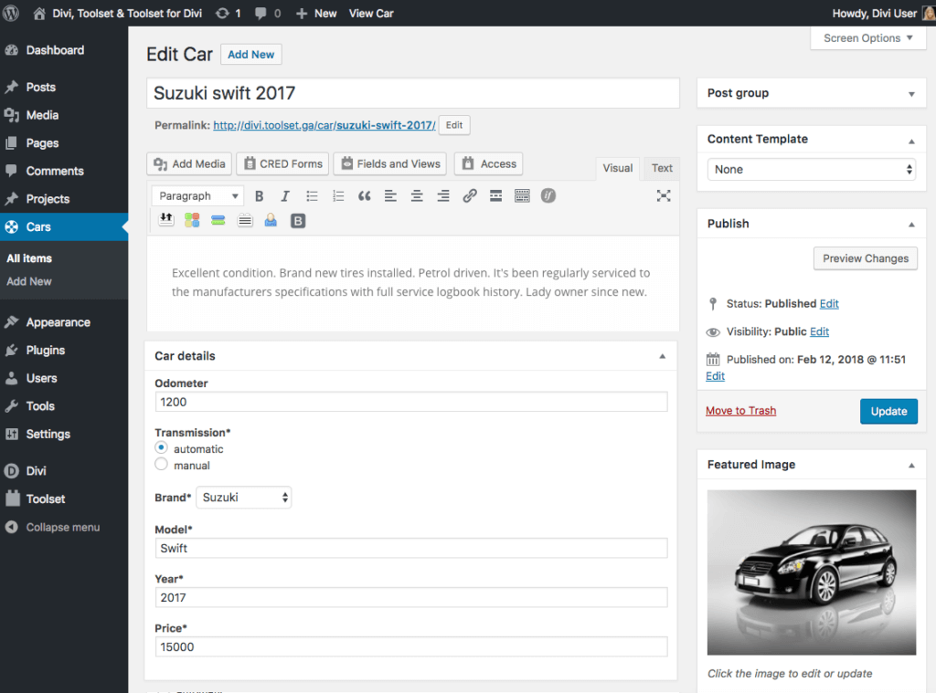 Step 3. Populate your Car post type with specific data