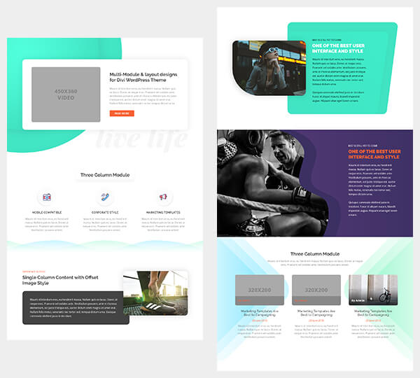 bonus divi theme module section with multi module layout