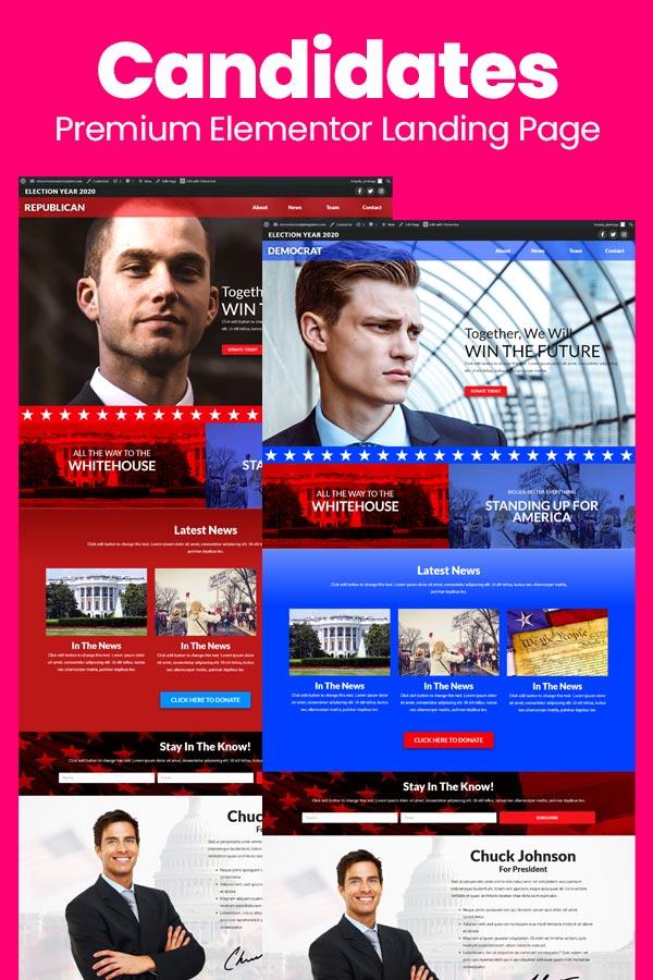 Elementor Layout - Candidates - Political Elementor Landing Page