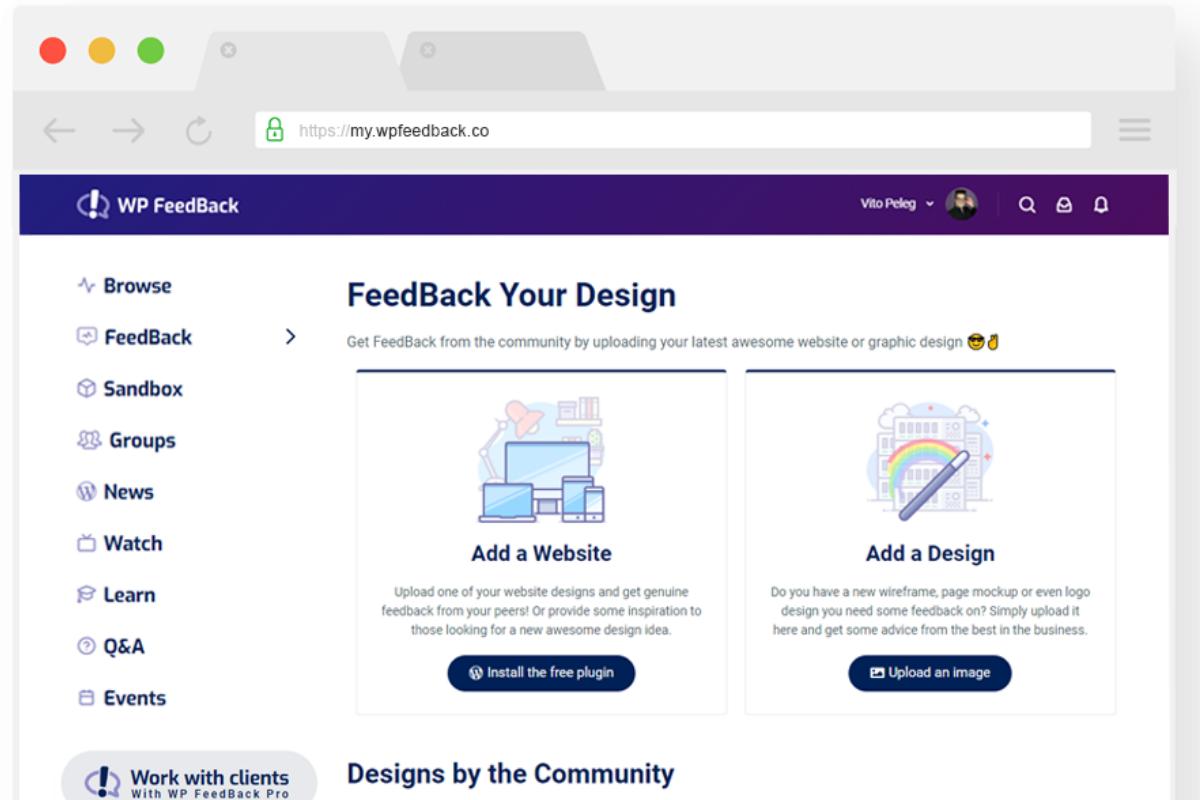 Mockup of Design Feedback on WP Feedback Community