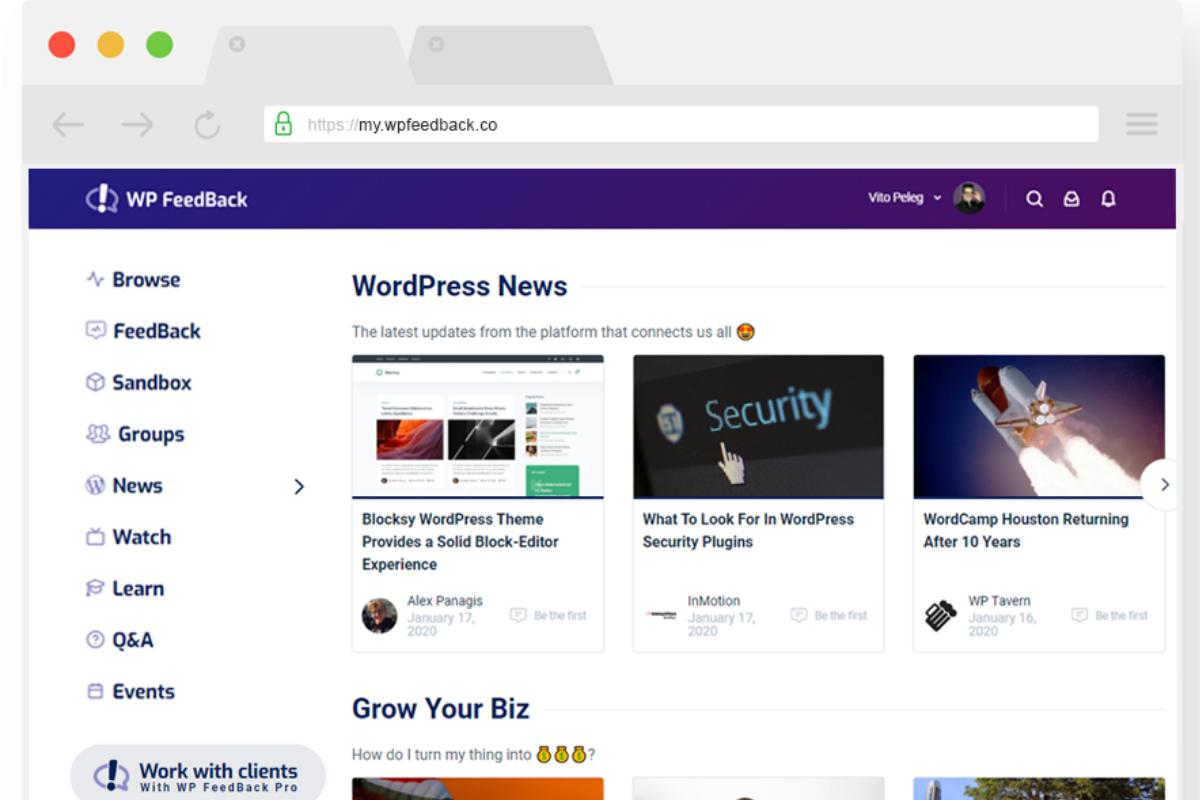 Mockup of WordPress News on WP Feedback Community