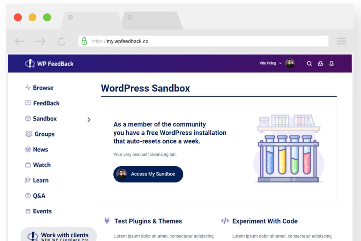 Mockup of the Sandbox on WP Feedback Community