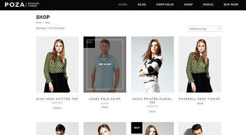 POZA Fashion Theme Store Page Example