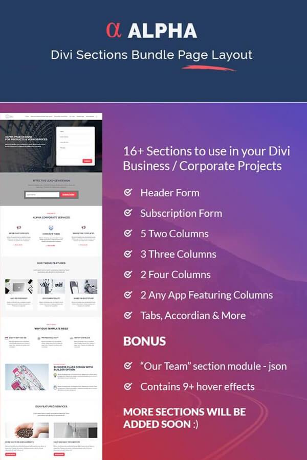 Alpha Divi Sections Bundle Page Layout